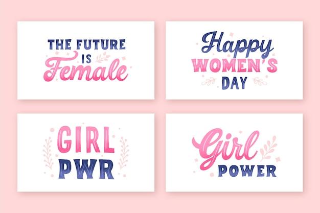 Ręcznie rysowane kolekcja etykiet z napisami na międzynarodowy dzień kobiet