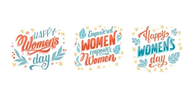 Ręcznie rysowane kolekcja etykiet z napisem na międzynarodowy dzień kobiet