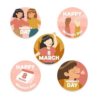 Ręcznie rysowane kolekcja etykiet z okazji międzynarodowego dnia kobiet