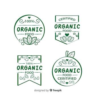Ręcznie rysowane kolekcja etykiet żywności ekologicznej