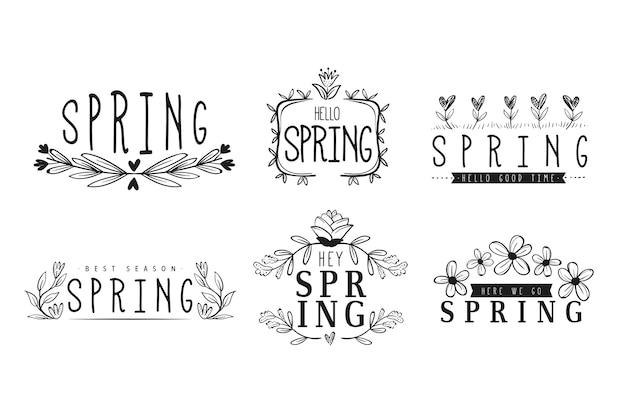 Ręcznie rysowane kolekcja etykieta wiosna