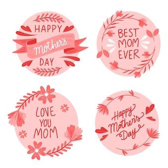 Ręcznie rysowane kolekcja etykiety dzień matki