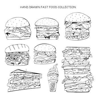 Ręcznie rysowane kolekcja fast food ilustracja w stylu doodle