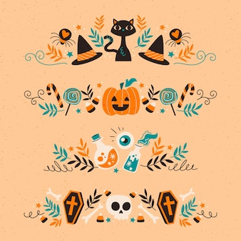 Ręcznie rysowane kolekcja granicy halloween