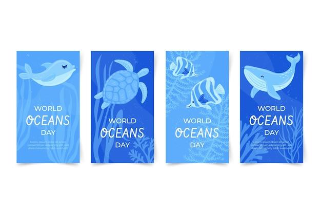 Ręcznie rysowane kolekcja historii na instagramie z okazji dnia oceanów