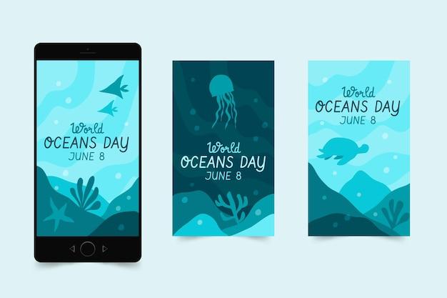 Ręcznie Rysowane Kolekcja Historii Na Instagramie Z Okazji Dnia Oceanów Darmowych Wektorów