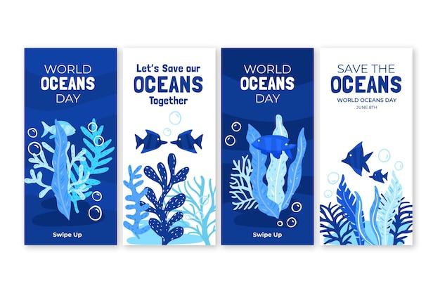 Ręcznie rysowane kolekcja historii na instagramie z okazji światowego dnia oceanów