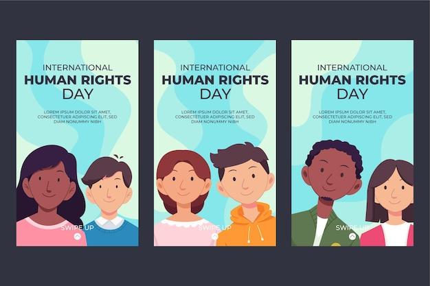 Ręcznie rysowane kolekcja historii na instagramie z płaskim międzynarodowym dniem praw człowieka
