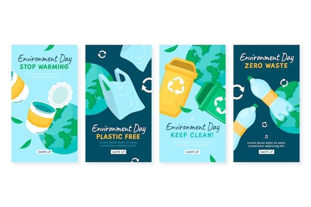 Ręcznie rysowane kolekcja historii na instagramie ze światowym dniem środowiska