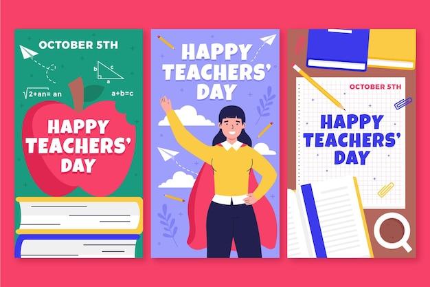 Ręcznie rysowane kolekcja historii płaskich nauczycieli z okazji dnia nauczyciela