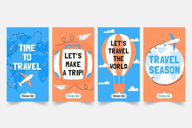 Ręcznie rysowane kolekcja historii podróży na instagramie w stylu