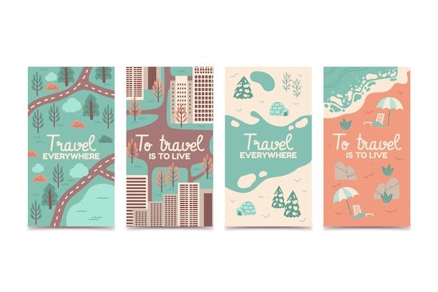 Ręcznie rysowane kolekcja historii podróży na instagramie
