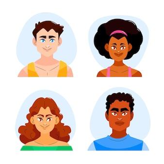 Ręcznie rysowane kolekcja ikon profilu