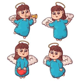 Ręcznie rysowane kolekcja ilustracji anioła bożego narodzenia