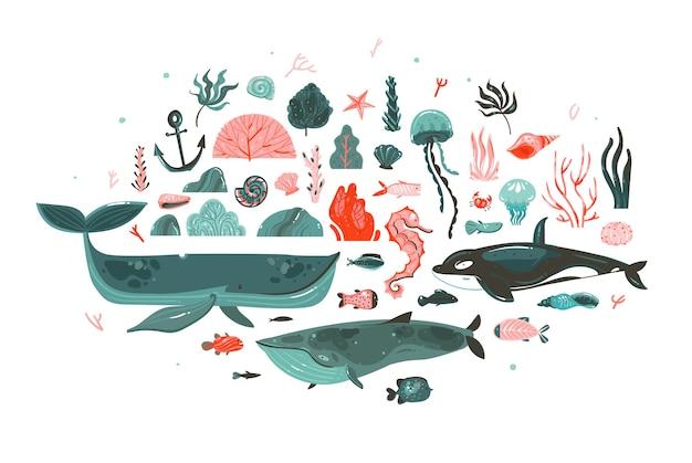 Ręcznie rysowane kolekcja ilustracji graficznych abstrakcyjnych kreskówek zestaw z rafami koralowymi, piękności orka, wieloryb, meduza, ryby, wodorosty, korale na białym tle.