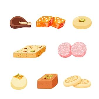 Ręcznie rysowane kolekcja indyjskich słodyczy