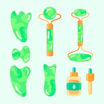 Ręcznie rysowane kolekcja jadeitowego walca i gua sha