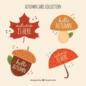 Ręcznie rysowane kolekcja jesień odznaka