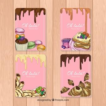 Ręcznie rysowane kolekcja kart deser