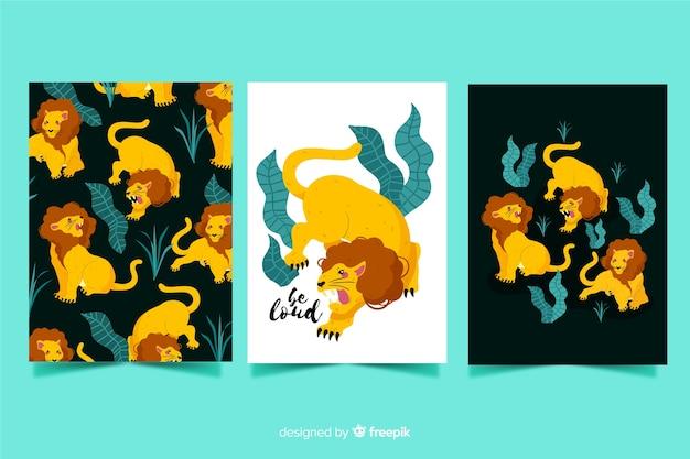 Ręcznie rysowane kolekcja kart dzikich zwierząt