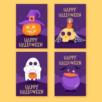 Ręcznie rysowane kolekcja kart halloween