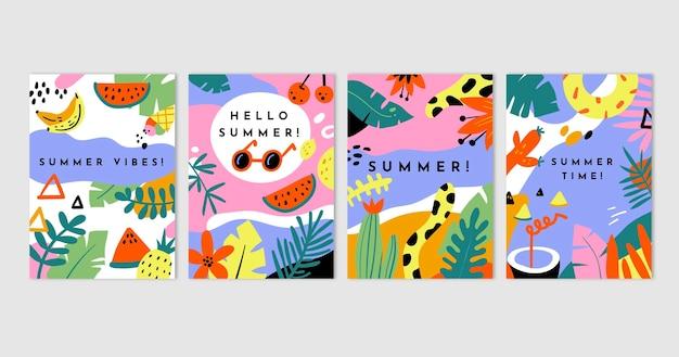 Ręcznie rysowane kolekcja kart letnich
