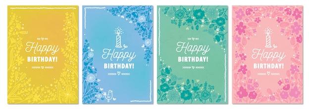 Ręcznie rysowane kolekcja kart okolicznościowych urodziny