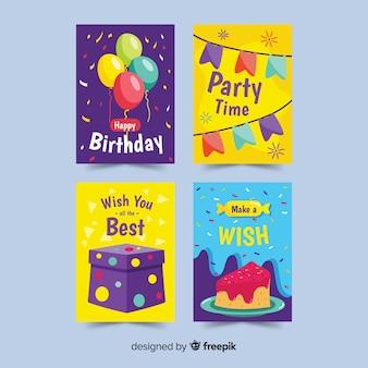 Ręcznie rysowane kolekcja kart urodzinowych