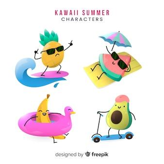 Ręcznie rysowane kolekcja kawaii lato znaków