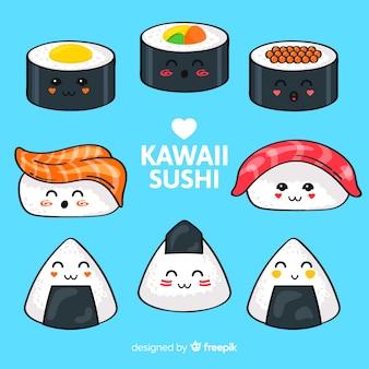 Ręcznie rysowane kolekcja kawaii sushi