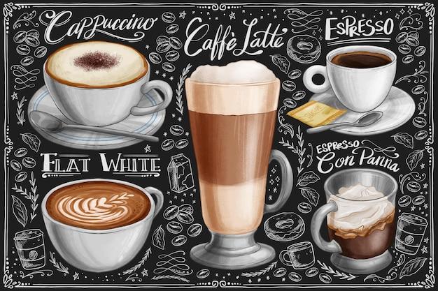Ręcznie rysowane kolekcja kawy tablica