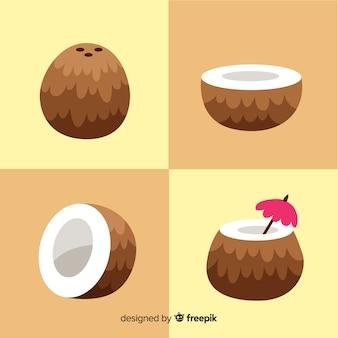 Ręcznie rysowane kolekcja kokosów