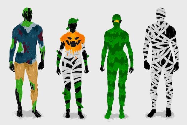 Ręcznie rysowane kolekcja kostiumów na halloween