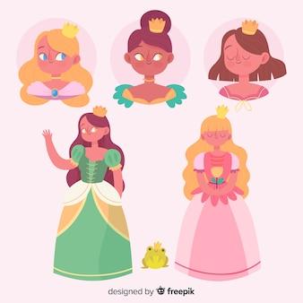 Ręcznie rysowane kolekcja księżniczek