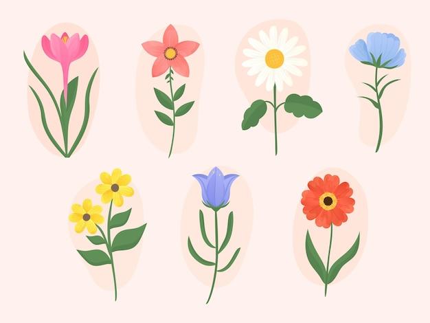 Ręcznie rysowane kolekcja kwiatów