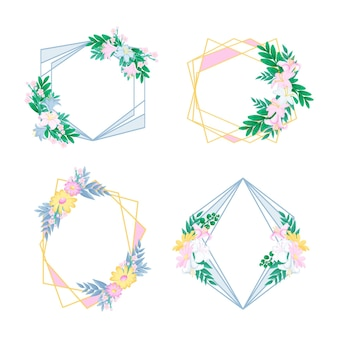 Ręcznie rysowane kolekcja kwiatowy ramki