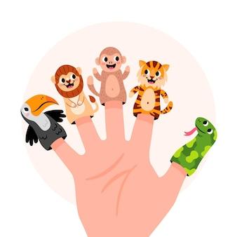 Ręcznie rysowane kolekcja lalek na palec