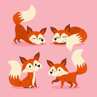 Ręcznie rysowane kolekcja lisa