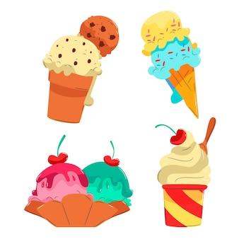 Ręcznie rysowane kolekcja lodów