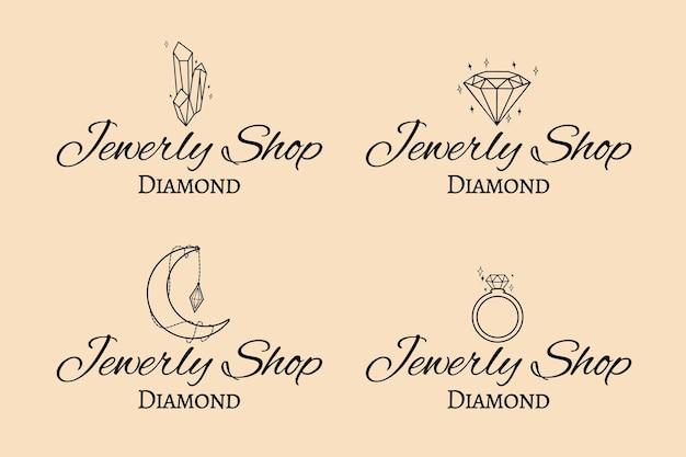 Ręcznie Rysowane Kolekcja Logo Biżuterii Darmowych Wektorów