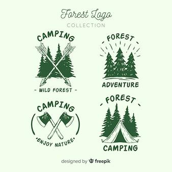 Ręcznie rysowane kolekcja logo camping