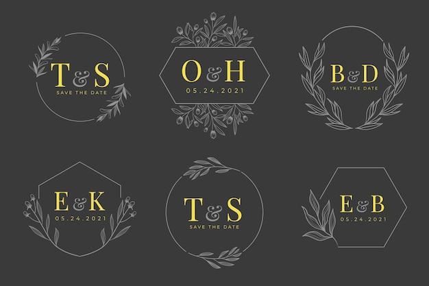 Ręcznie rysowane kolekcja logo monogram ślubny