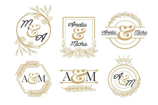 Ręcznie rysowane kolekcja logo monogram złoty ślub