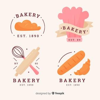 Ręcznie rysowane kolekcja logo piekarni