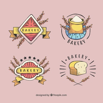 Ręcznie rysowane kolekcja logo pszenicy
