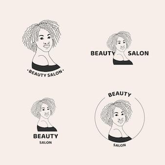 Ręcznie rysowane kolekcja logo salon fryzjerski