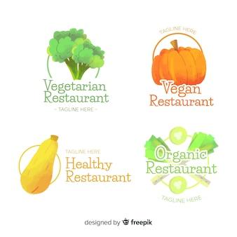 Ręcznie rysowane kolekcja logo zdrowej żywności