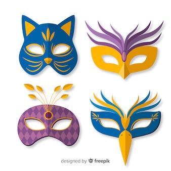 Ręcznie rysowane kolekcja maski karnawałowe