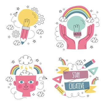 Ręcznie rysowane kolekcja naklejek kreatywności
