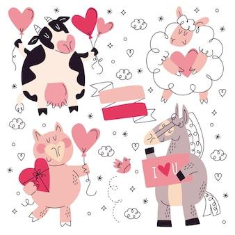 Ręcznie rysowane kolekcja naklejek miłości